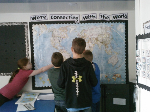 This map has been a very busy place in our classroom lately!