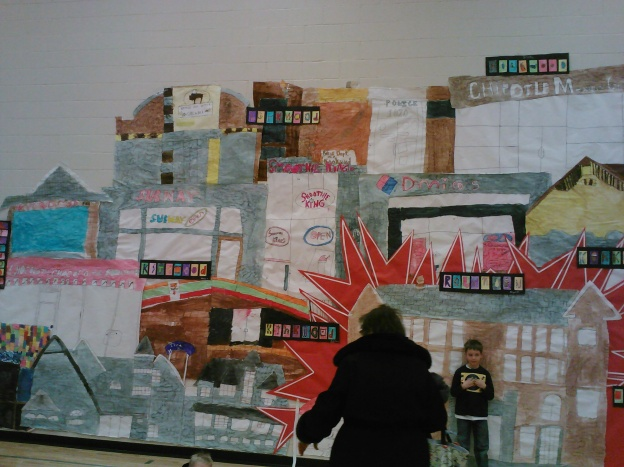 The whole back wall of the gym was covered in a mural-of-sorts showing all the best places in our town.