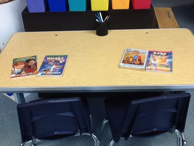 Tables started out like this, with two books at each seat.