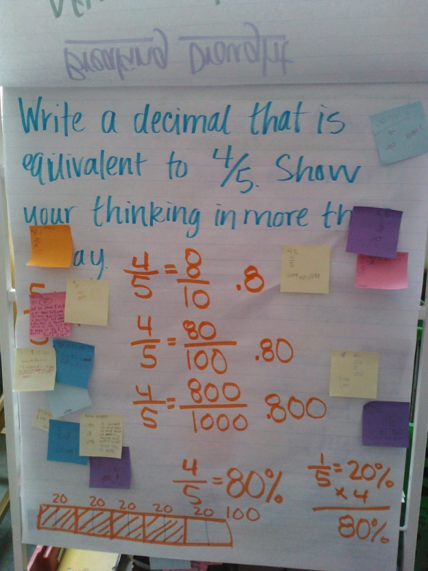 We needed to reminded (again) about equivalent fractions, as well as their tie to decimals.