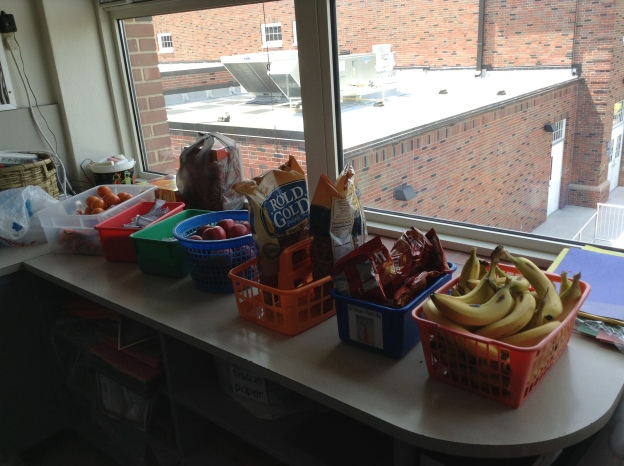 "Yum!  Our testing snacks include lots of fresh, ""real"" food that good fuel for working brains!"