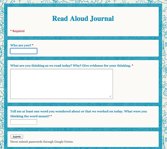 Electronic Read Aloud Journal