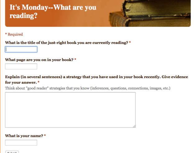 Live view of our Google Form for It's Monday, What Are You Reading?