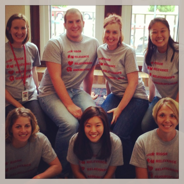 Our FABULOUS 5th Grade Team--Mrs. Cheatham, Mr. Shelton, me, Mrs. Hong (back); Ms. Turken, Ms. Yun and Mrs. Bell (front)