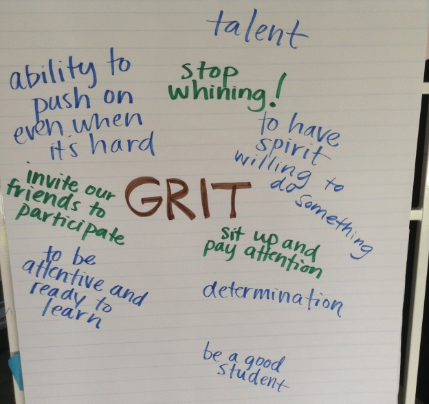 "The blue words are what we think grit is, and the green is how we think we can ""get"" it, or where we find it when we need it"
