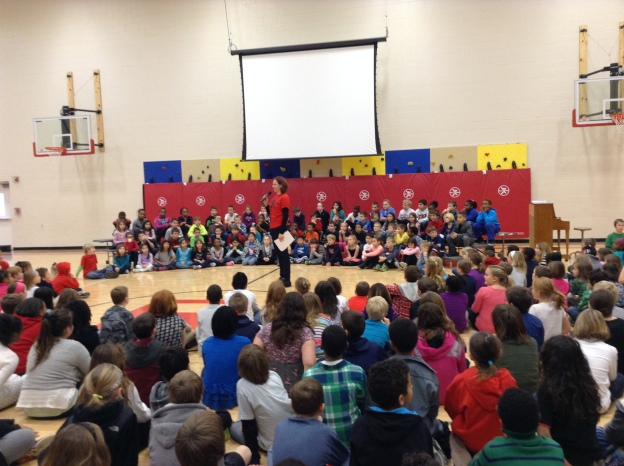 We started the day off together as a whole school in an assembly.  The energy in the gym was so great--wish we could do this every Friday!