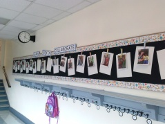 Everybody has a hook with their class number on it so they know where to find their things, as well as a special spot on the bulletin board with their number, too!