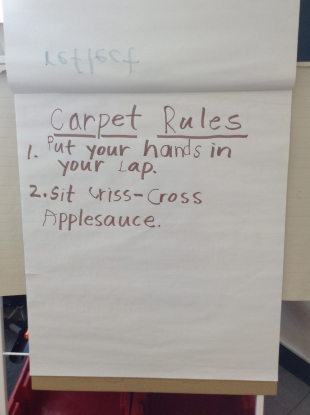 We got started on a chart to remind us of carpet rules. We'll add to this in upcoming days.