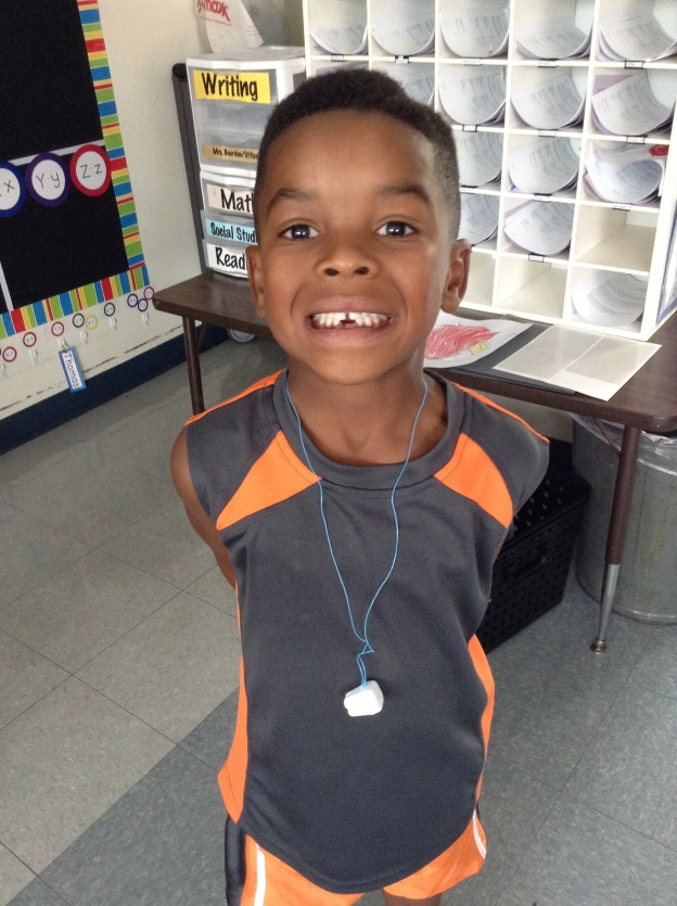 Gotta love sweet, toothless first grade smiles!  This was our first lost tooth of the year, and since it happened at school, he got to join the Lost Tooth Club in the Nurses' Office.  YAY!