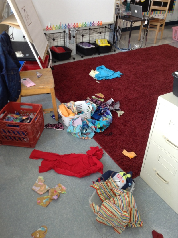 I just had to take a picture of this part of our rug as we worked.  Learning is messy, friends! (Don't worry--they know how to respect our environment and they picked it all up!).