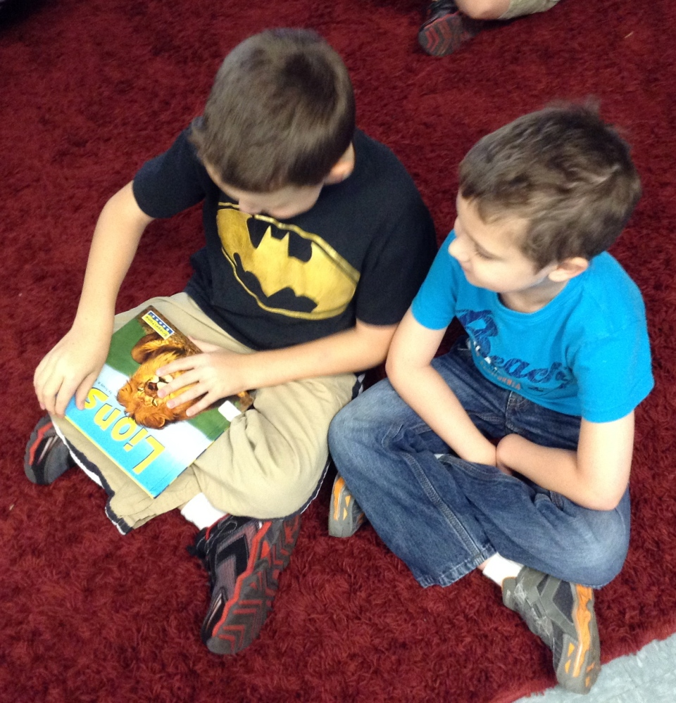 JKB and Thomas checking out a non-fiction text about lions.