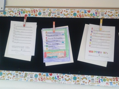 We added our FRIENDS poems to our Learn. Create. Collaborate. bulletin board in the hall.  Now we get to see them every day and they are inspiring! :)