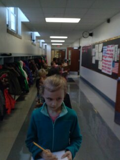 Ella Marie led our super-silent first grade line down the 4th grade hall as we began our hunt.